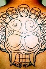 背部黑色线条骷髅与翅膀纹身图案