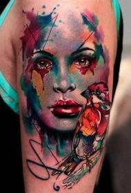 水彩风格大臂女性肖像和小鸟纹身图案