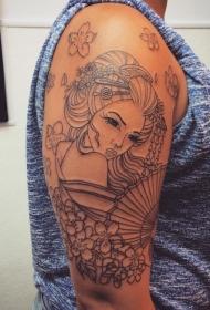 手臂简单的黑色线条亚洲艺妓与扇子花朵纹身图案