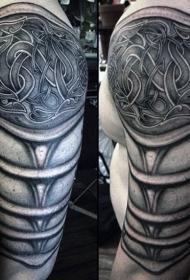 手臂凯尔特风格黑色中世纪盔甲纹身图案
