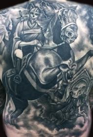背部华丽的幻想骑士马纹身图案