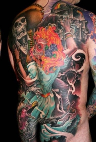 墨西哥本土传统彩色骷髅女郎满背纹身图案