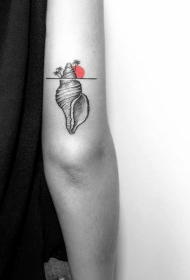 大臂很棒的点刺海螺和太阳纹身图案