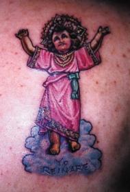 彩色的耶稣宝宝纹身图案