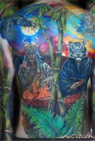 背部大型彩色幻想魔术师和白老虎纹身图案
