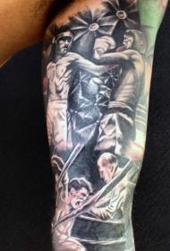 手臂黑白拳击手打斗场景纹身图案