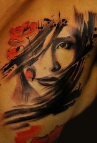 亚洲风格的红色花朵和艺妓纹身图案