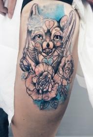 大腿素描风格彩色的狐狸与玫瑰纹身图案
