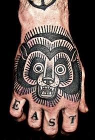 手背黑色简单的熊纹身图案