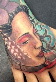 手臂敏感的亚洲传统彩色女性肖像纹身图案