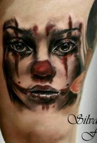 大腿美丽的水彩女人小丑纹身图案