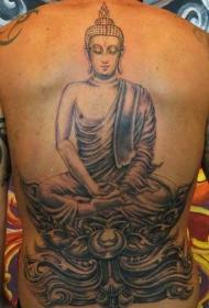 背部冥想的佛像纹身图案