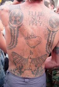 背部皇冠心形与鸟图腾纹身图案