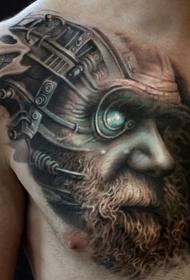 胸部未来风格彩色机械男子肖像纹身图案
