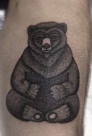 简单的黑色点刺复古风格熊纹身图案