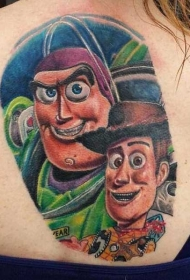 背部彩色的玩具故事卡通人物纹身图案