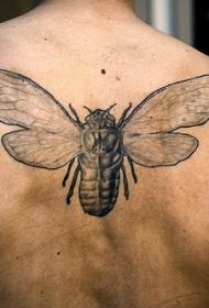 背部怪异的黑色昆虫纹身图案