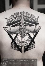 背部点刺部落风格黑白几何与蝙蝠纹身图案