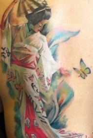 背部亚洲风格五彩的艺妓花卉和蝴蝶纹身图案