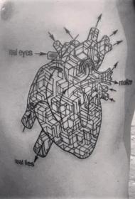 侧肋黑色线条几何组合的心脏纹身图案