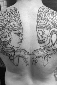 背部黑色线条印度骷髅与女人纹身图案