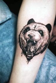 小臂雕刻风格黑色神秘熊与符号纹身图案