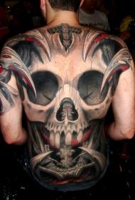 满背可怕的黑色和红色骷髅纹身图案