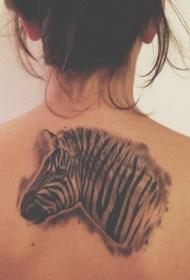 背部有吸引力的黑白斑马头纹身图案