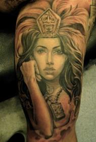 大臂漂亮的阿兹特克女战士肖像纹身图案