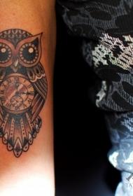 手臂美丽的黑白猫头鹰形时钟纹身图案