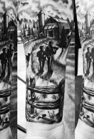 手臂黑白西方牧场风景纹身图案