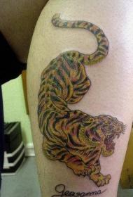 咆哮的下山虎彩绘纹身图案