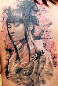 背部写实的彩色亚洲艺妓肖像纹身图案