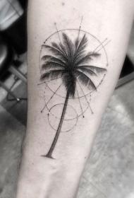 手臂华丽的棕榈树与圆纹身图案