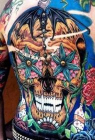 背部彩色鲜艳的骷髅花朵组合纹身图案