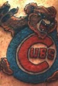 小熊队标志彩绘纹身图案