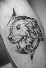 小腿非常漂亮的手绘黑色狗头像纹身图案