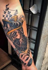 old school彩色老海盗手臂纹身图案