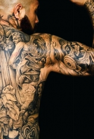 背部和手臂宏伟的黑白雕像纹身图案