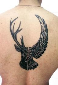 雕刻风格的鹿头与猫头鹰背部纹身图案
