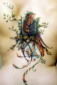 背部自然的彩色大鸟纹身图案