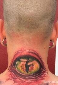 颈部彩色的动物眼球纹身图案