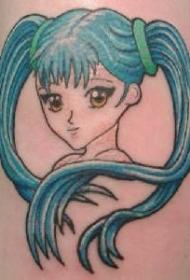 动漫风格女孩彩绘纹身图案