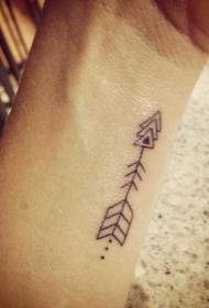 手腕简约黑色几何组合的箭头纹身图案