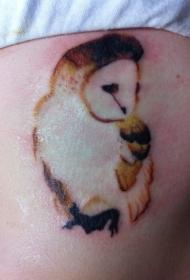 水彩画简约猫头鹰纹身图案