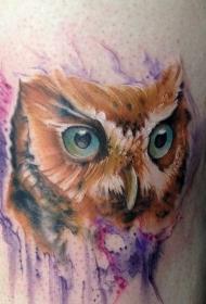 大腿可爱的水彩猫头鹰纹身图案