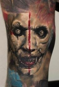 手臂恐怖风格的彩色吸血鬼怪物纹身图案