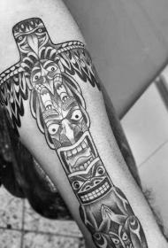手臂简单的黑色部落雕像纹身图案
