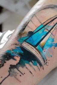手臂令人印象深刻的水彩帆船纹身图案