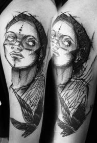大臂素描风格黑色女性与飞乌鸦纹身图案